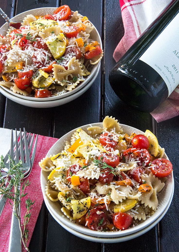 Grilled Veggie Pasta with White Wine and Parmesan | Recipe