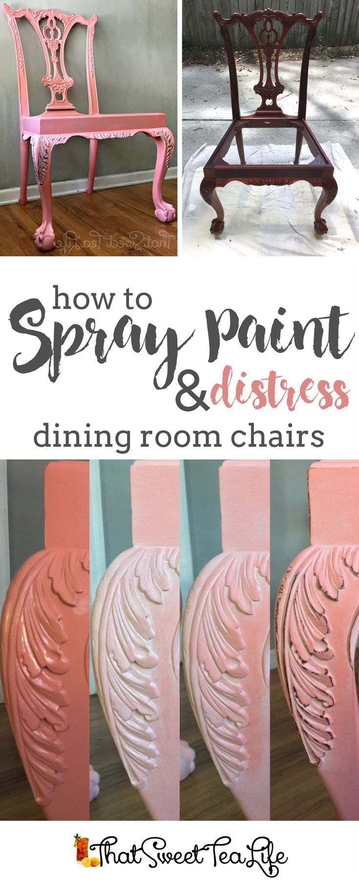 How to Spray Paint, Glaze & Distress Furniture easily by That Sweet Tea Life | How to Paint Furniture | How to Paint Dining Room Chairs | Coral Chairs | Coral Furniture | Pink Chairs | Pink Furniture | Quickest way to Paint Furniture | Unicorn Spit Glazing