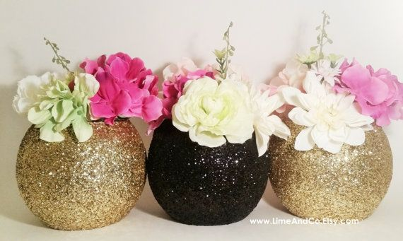 Wedding Decor Wedding Centerpieces Black and Gold by LimeAndCo