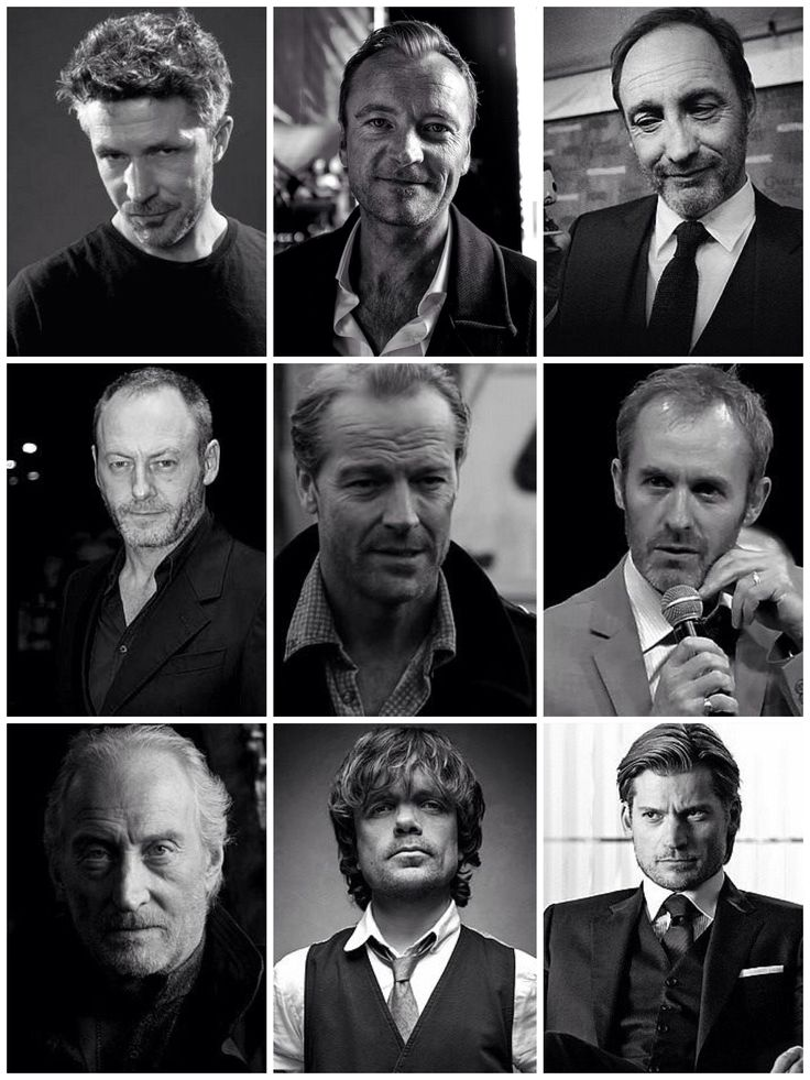 """The great actors from Game of Thrones.  Row by row from top to bottom:  Aidan Gillen (Petyr """"Littlefinger"""" Baelish); Richard Dormer (Beric Dondarrion); Michael McElhatton (Roose Bolton); Liam Cunningham (Davos Seaworth); Iain Glen (Jorah Mormont); Stephen Dillane (Stannis Baratheon); Charles Dance (Tywin Lannister); Peter Dinklage (Tyrion Lannister) and Nikolaj Coster-Waldau (Jaime Lannister)"""