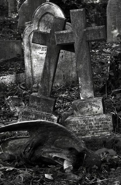 Abandoned cemetery with broken angel