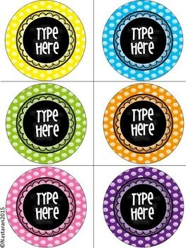Scribble Polka Dots Round Labels