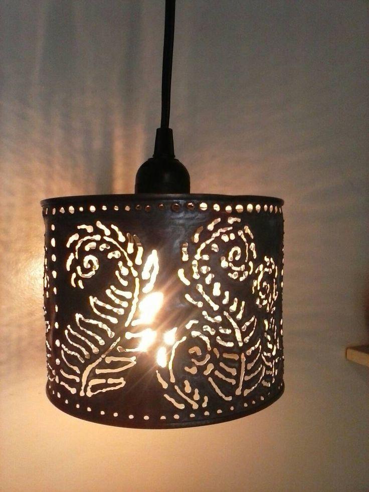 Pendant l& metal lighting farmhouseboho lightingFern patternwelded art upcycled lightingtin can lantern.Edison bulb pendant light & 105 best Lighting images on Pinterest | Metal art Tin cans and ... azcodes.com