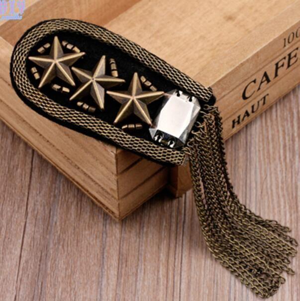 Vintage Vijf Ster Kwastje Chain Schouder Board Badges Kralen Stof Metalen Epaulet Epaulette Militaire Pin op Broche Medaille