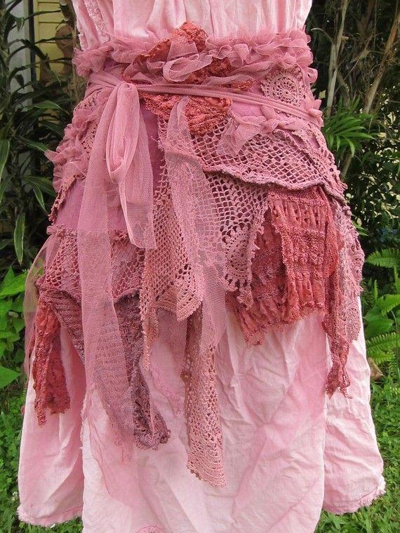 shabby bohemian burlesque rose pink belt/shawl/shrug/overskirt