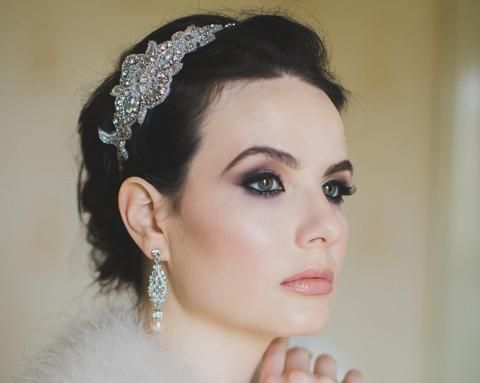 Vintage Side Headpieces - Pearl And Crystal Embellished Applique Headband, Cheryl