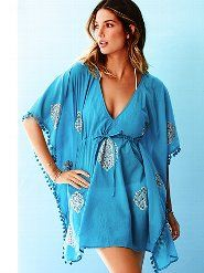 Blue printed caftan dress
