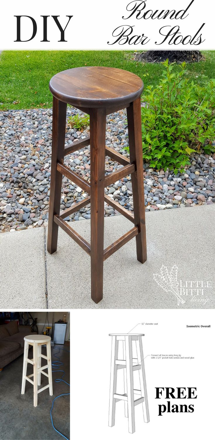 Build your own round top bar stools with this simple step-by-step DIY stool tutorial. Includes a free pdf download of the plans.