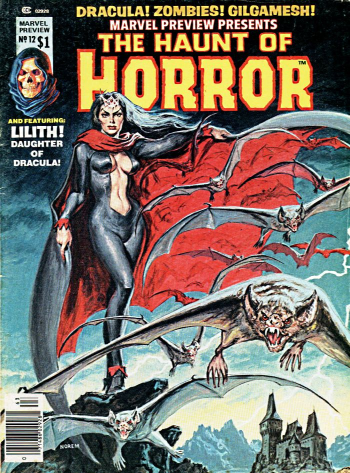 Marvel Preview 12 Haunt of Horror cover by Earl Norem featuring Lilith Daughter of Dracula, 1977