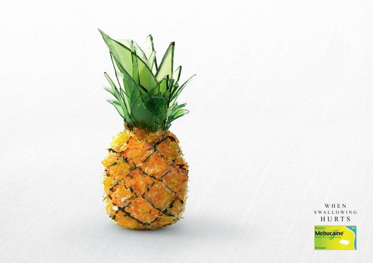 You know when you have one of those really sore throats? When it feels like your swallowing glass with every gulp? 🍍🍕🍣🍰   We've all been there and this campaign from #Mebucaine, a sore throat medicine, really brings that feeling to life. The #PrintAdvertisement campaign features also features pineapple, pizza, cake and sushi made of glass (ouch!)  The colours of the glass and the structure of the food is stunning with the product placement easily placed.