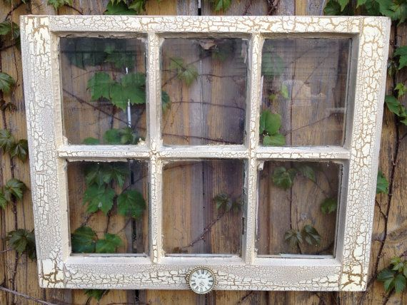 Easter sale old window ivory and bronze crackle frame for Wood windows for sale online