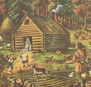 The Pioneer's Home, Vintage Currier and Ives Print