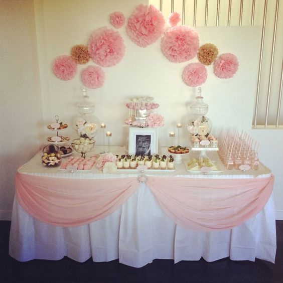 Pink girl baby shower table. DIY table skirt idea: