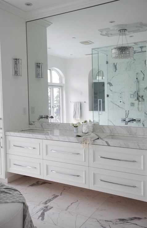 The Cross Decor & Design - bathrooms - marble bathroom, white marble bathroom, master bathroom, frameless bathroom mirror, faucets on mirror...