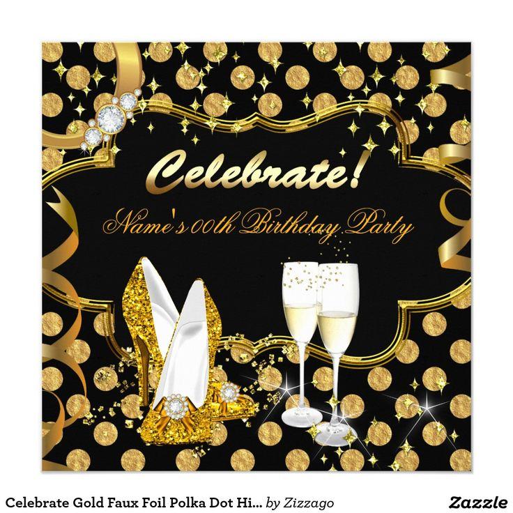 Celebrate Gold Faux Foil Polka Dot High Heel Party Invitation
