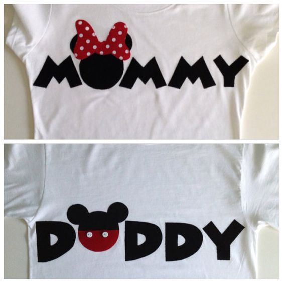 PERSONALIZED: Mommy Minnie Mouse & Daddy Mickey Mouse T-shirt Set on Etsy, $44.50: