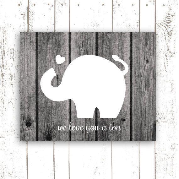 Nursery+Art+Print+Elephant+Art+Typography+by+MooseberryPrintables,+$5.00. Like the silohuette on wood background