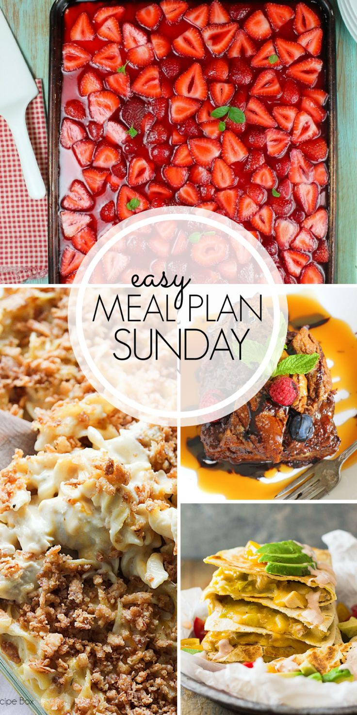 With Easy Meal Plan Sunday Week 104 - six dinners, two desserts, a breakfast and a healthy menu option will help get the week's meal planning done quickly!