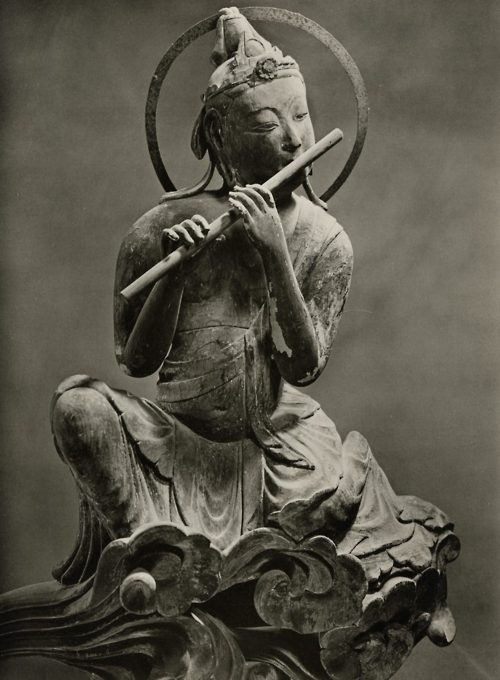 """A Musical Bodhisatva: Photo by a Japanese photographer, from a 1966 portfolio of photos of """"The Byodo-in."""" Courtesy of Ohio State University. I think I got this link from couleurs. If so, thank you."""