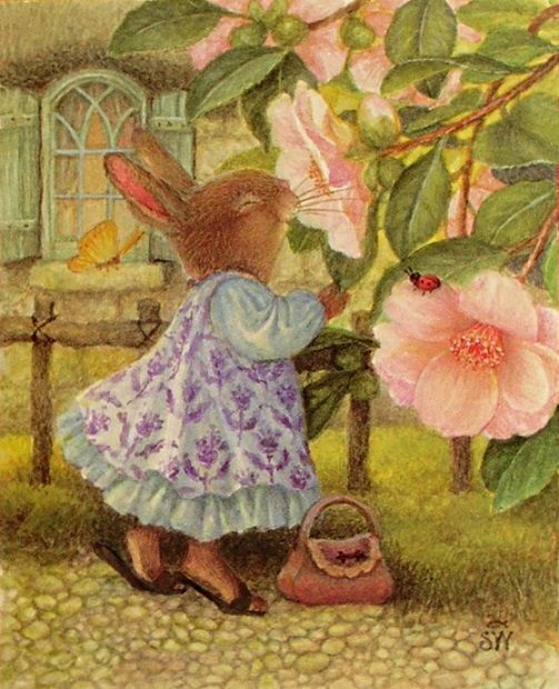 bunny smelling roses Susan Wheeler