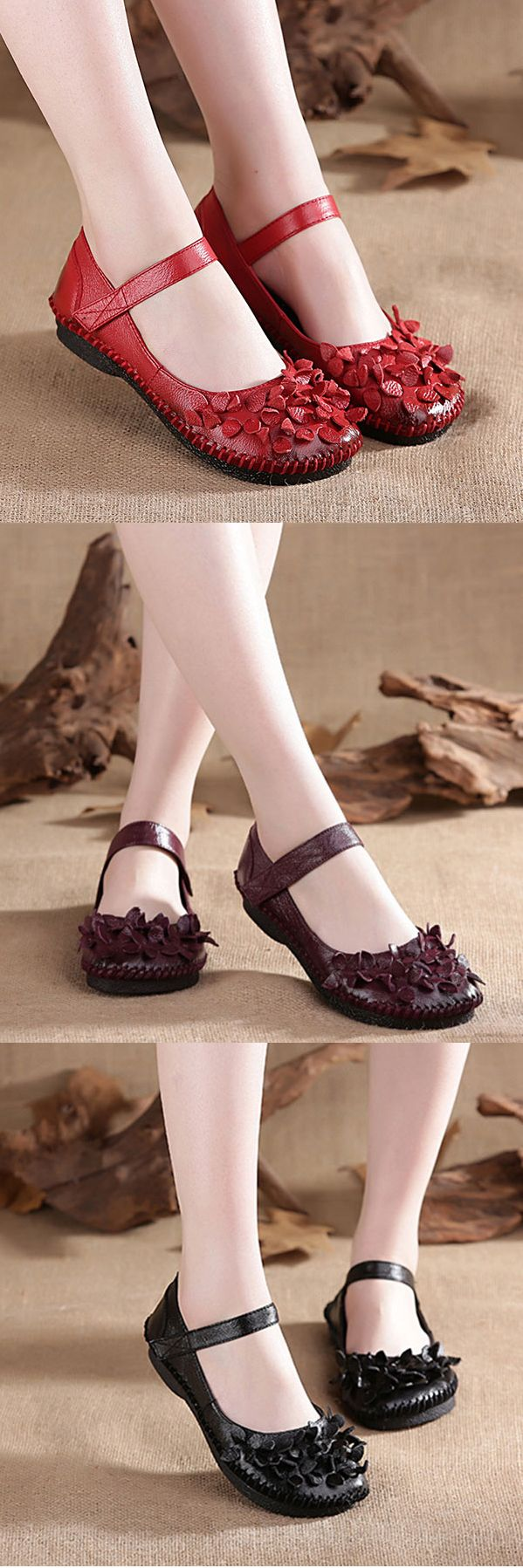 SOCOFY Flower Vintage Soft Genuine Leather Flat Shoes