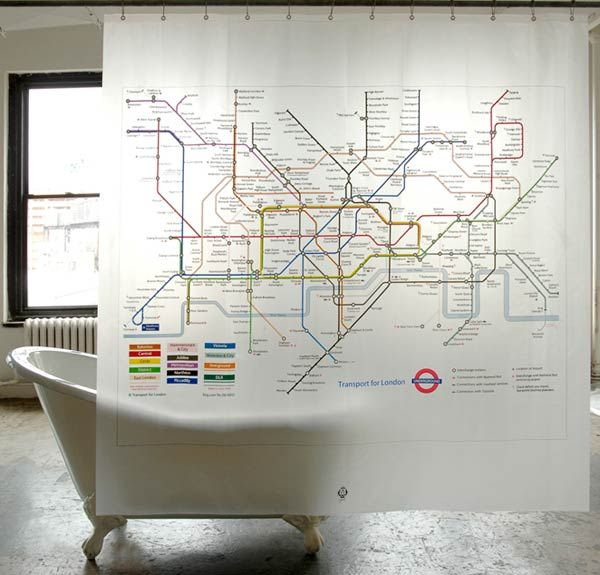 Map of London Underground on your shower curtain
