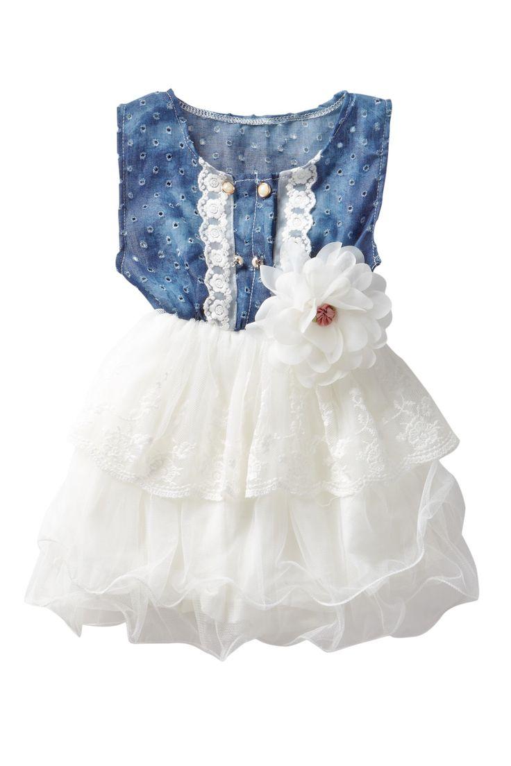 Denim Lace Cutout Tutu Dress