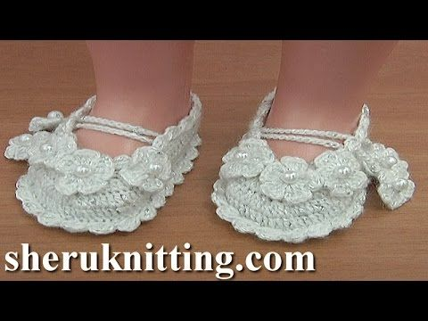 Crochet Christening Shoes Tutorial 36 Part 1 of 2 Sandalias en crochet para bebes - YouTube
