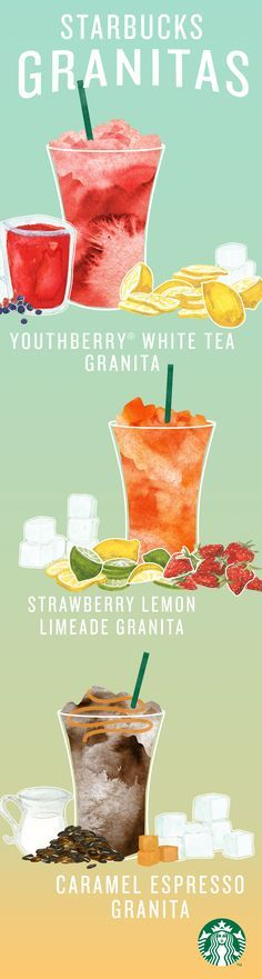 Meet the Starbucks Granitas! Subtly sweetened shaved ice topped with tea, lemonade, or espresso. Youthberry White Tea with lemonade, Strawberry Lemon Limeade with strawberry slices, and Caramel Espresso with a splash of cream—all available this summer on the Sunset Menu, starting at 3PM every day.