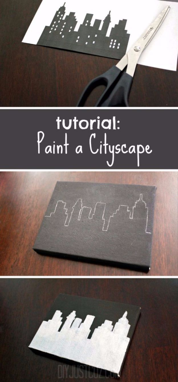 DIY Canvas Painting Ideas - Paint A Cityscape - Cool and Easy Wall Art Ideas You Can Make On A Budget - Creative Arts and Crafts Ideas for Adults and Teens - Awesome Art for Living Room, Bedroom, Dorm and Apartment Decorating http://diyjoy.com/diy-canvas-painting