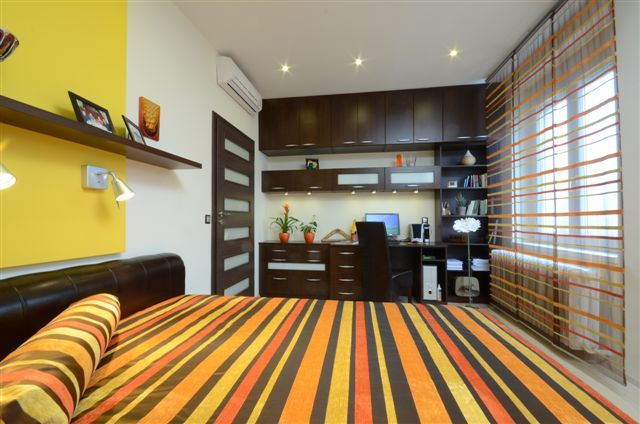design by Xenia Studio   bedroom with home office colorful