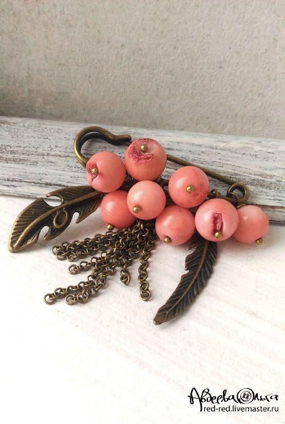 Купить Брошь булавка на шарф. Кораллы розовые - брошь с подвесками, булавка с камнями, бохо украшения
