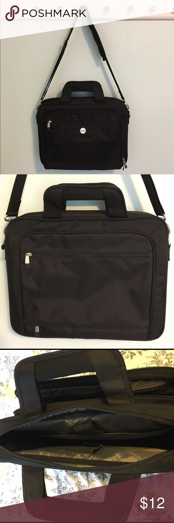"""Dell Laptop Bag Black Dell laptop bag. Comes with a padded shoulder strap. Inside laptop pocket has padding at the bottom to protect your device. Side storage pocket has sections for pens, business cards, etc. Great condition. All zippers work. No rips or snags. Only show of wear is a few scratches on the silver hardware. Outer dimensions approximately 16"""" x 5"""" x 13"""". All my items come from a smoke free home. Dell Bags Laptop Bags"""