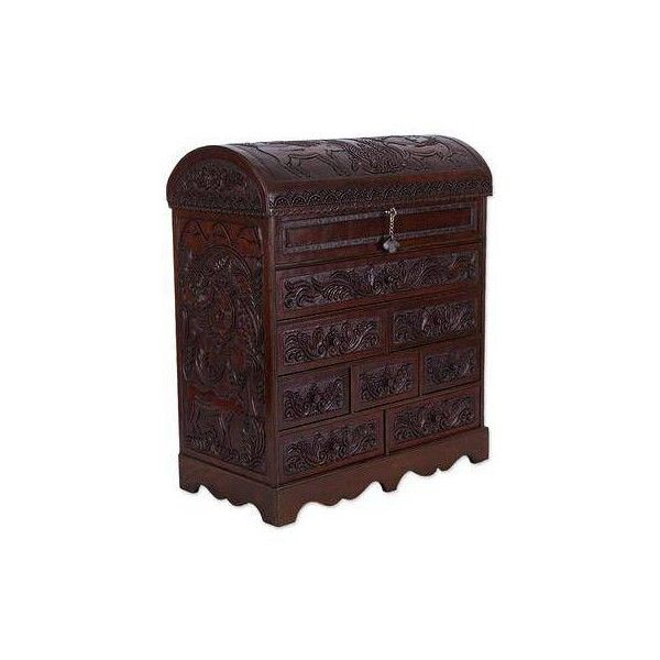 NOVICA Large Handcrafted Cedar Wood and Leather Jewelry Box (1 135 PLN) ❤ liked on Polyvore featuring home, home decor, jewelry storage, boxes, brown, clothing & accessories, jewelry boxes, cedar jewelry box, hand crafted jewelry boxes and handcrafted jewelry box