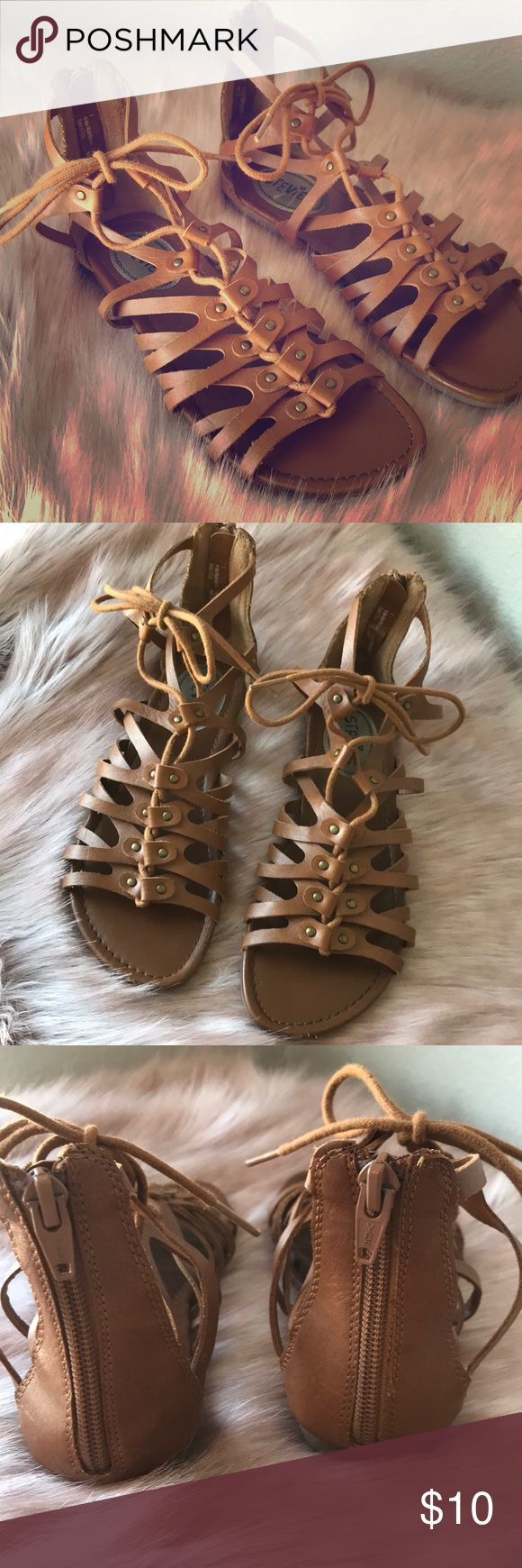 Girls brown gladiator sandals 3 by Stevies Girls brown Gladiator sandals. Size 3 by Stevie's A little scuffing on toes Stevies Shoes Sandals & Flip Flops