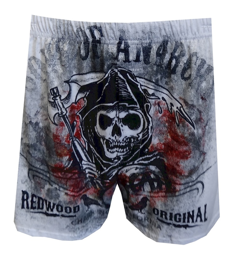 Sons Of Anarchy SAMCRO Boxers, $13.50  If you are a fan of the hit Fox show Sons Of Anarchy, these 100% cotton boxers are just the thing you need. They feature a fierce image of the Grim Reaper, with the words Sons of Anarchy and Redwoord Original in a distressed print. A must have for the SAMCRO fan. Covered waist and open, functional fly.