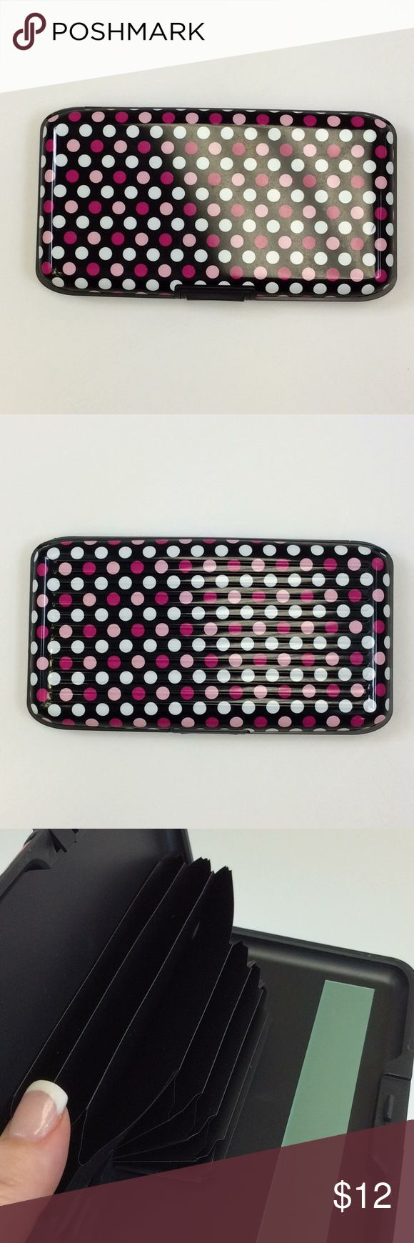 Pink Polka Dot Metal Security Wallet New in box aluminum wallet. Shields your credit cards from scanners. See pictures of box for more information. 1 available in this color. Bags Wallets