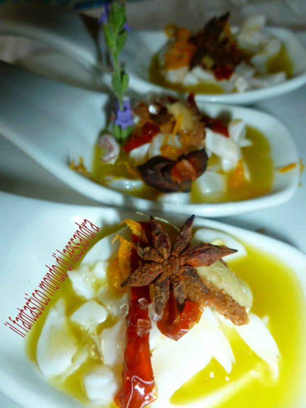 Seppie Ricette| crude con bottarga zenzero olio al mandarino