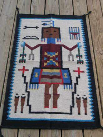 Woven Wool Southwestern Tapestry 27x44 -Yei