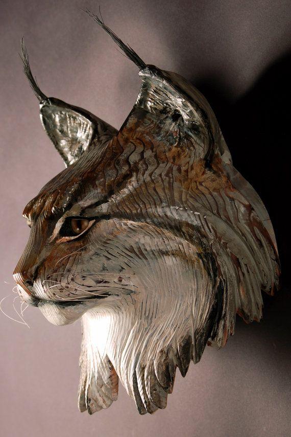 Lynx Mask Wood sculpture by Jason Tennant by jasontennant on Etsy