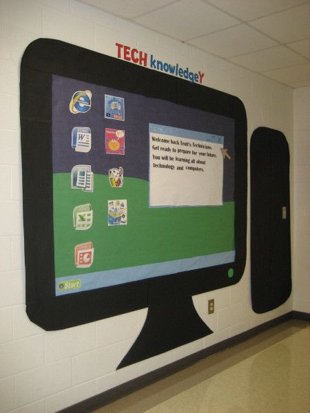 Cool computer bulletin board. Could also be added around a SMART Board.