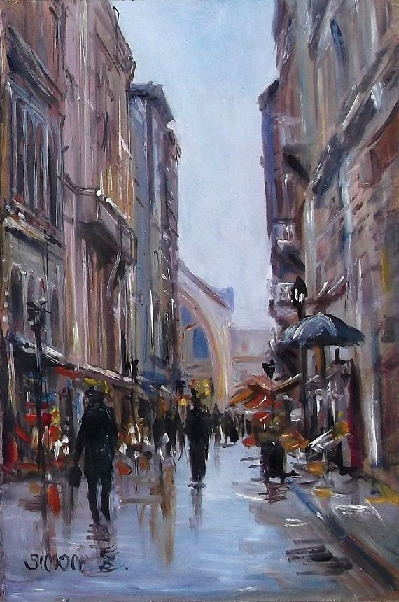 After rain by Zoltan Simon,       Oil, 30x20 cm.