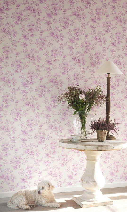 Papel pintado flores grandes texturizadas