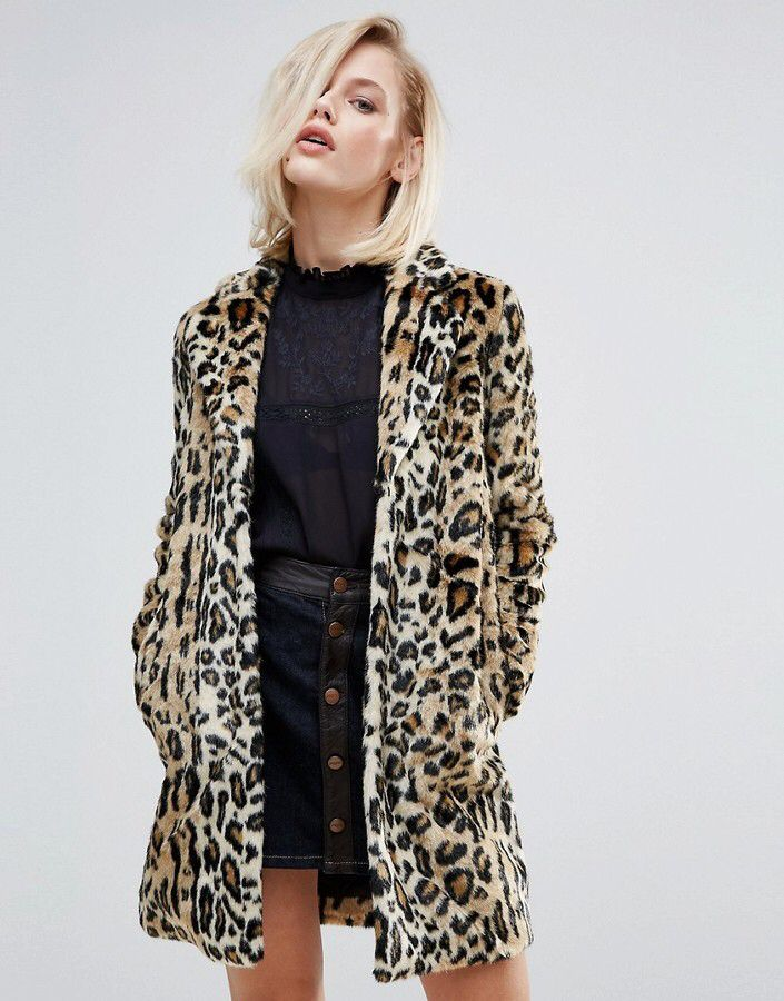 Pepe Jeans Sessile Leopard Faux Fur Coat. OMG I didn't realize they still have Pepe as a brand...blast from the past! #90s #fashion #ad #middleschoolmemories #mamaofdrama