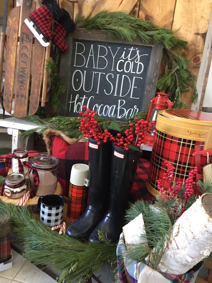 Vintage Rustic Plaid Christmas Party Kara S Party Ideas Outdoor Christmas Party Christmas Party Decorations Vintage Christmas