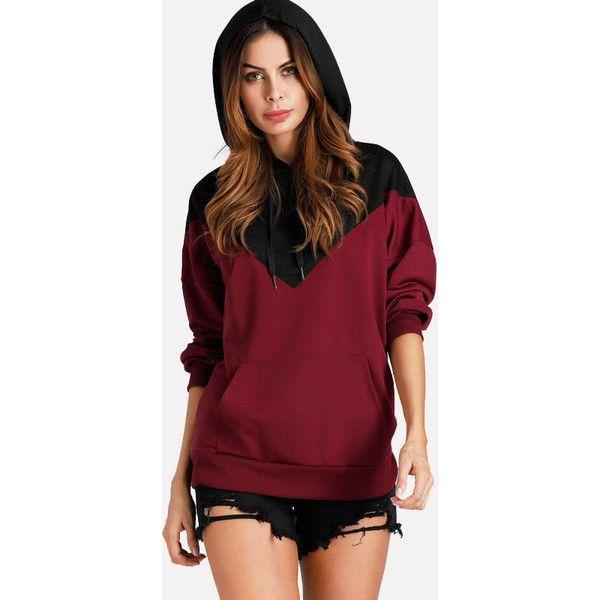 SheIn(sheinside) Kangaroo Pocket Color Block Hoodie (55 PEN) ❤ liked on Polyvore featuring tops, hoodies, long sleeve tops, long sleeve hooded sweatshirt, red hooded sweatshirt, pullover hoodie and colourblock hoodie