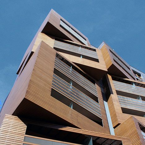 This student housing building in Paris was designed to resembled a stack of wooden baskets.