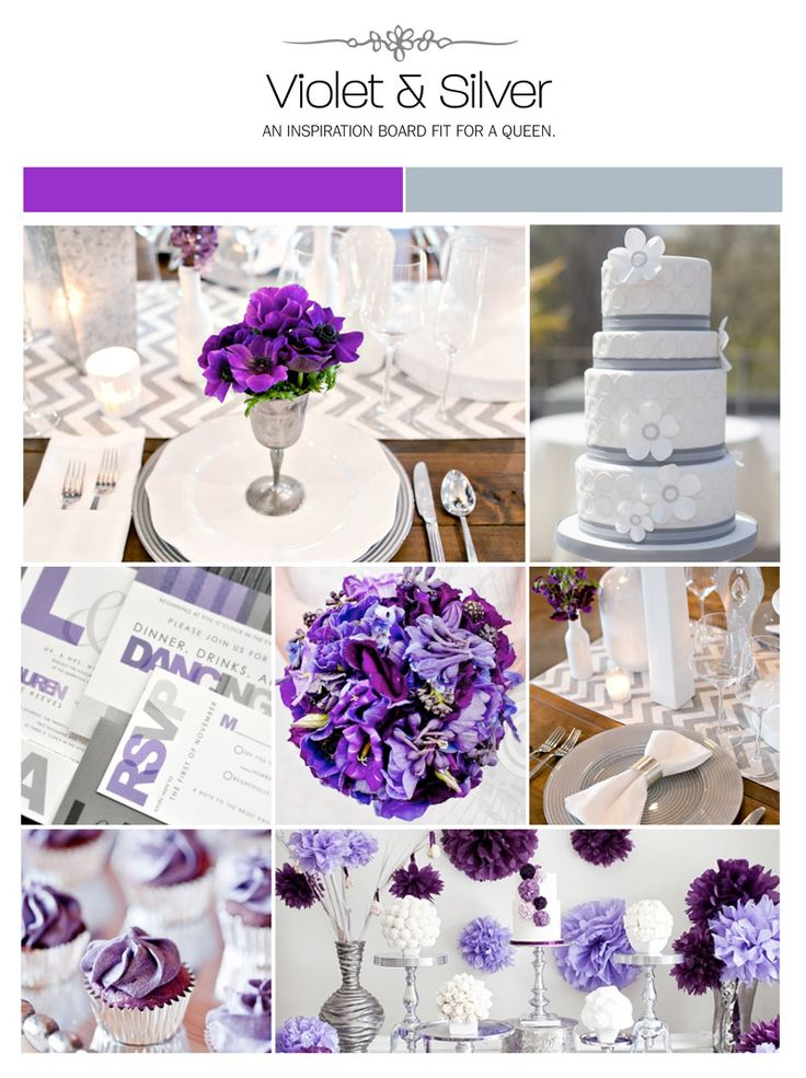 Violet and silver wedding inspiration board, color palette, mood board via Weddings Illustrated