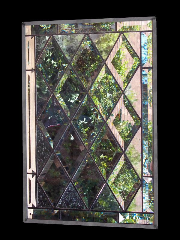 Stained Glass Window, leaded glass panel, diamond bevel by stainedglassfusion on Etsy https://www.etsy.com/listing/91687368/stained-glass-window-leaded-glass-panel
