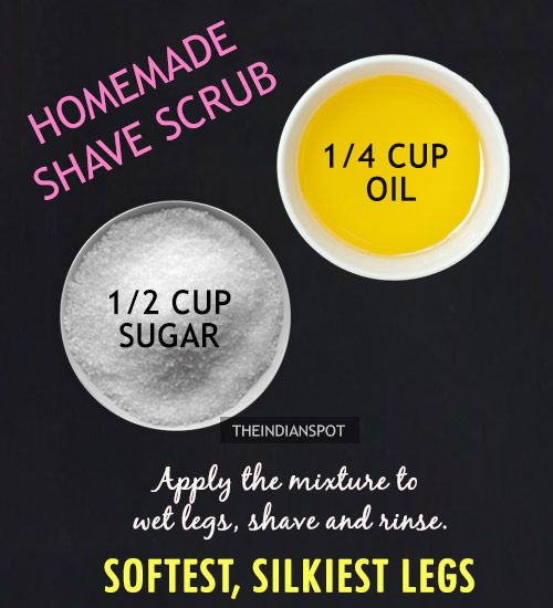Exfoliation is the key to silky, smooth legs. Exfoliating your legs will not only rid of dead skin but also give you a close shave leavingyour skin silky soft and smooth. Exfoliating the skin before and after shave will give yousmoother legs and make your shave last long.Here are 2 natural sugar and salt scrub